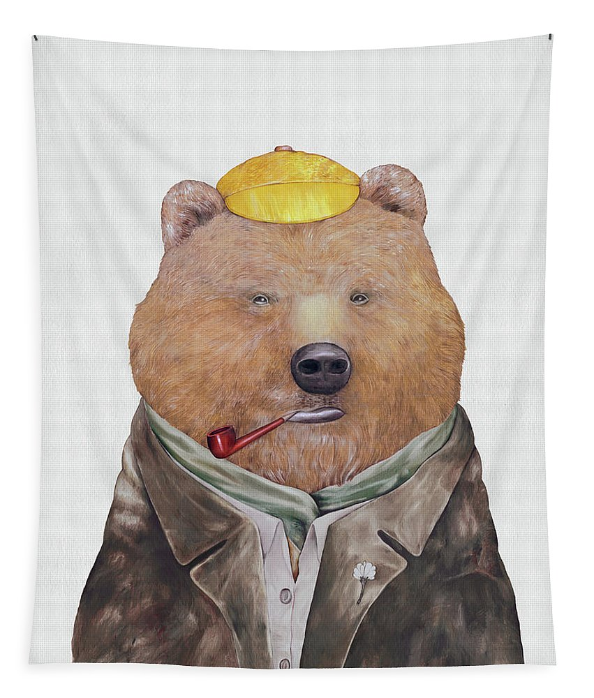Brown Bear Tapestry featuring the painting Brown Bear by Animal Crew