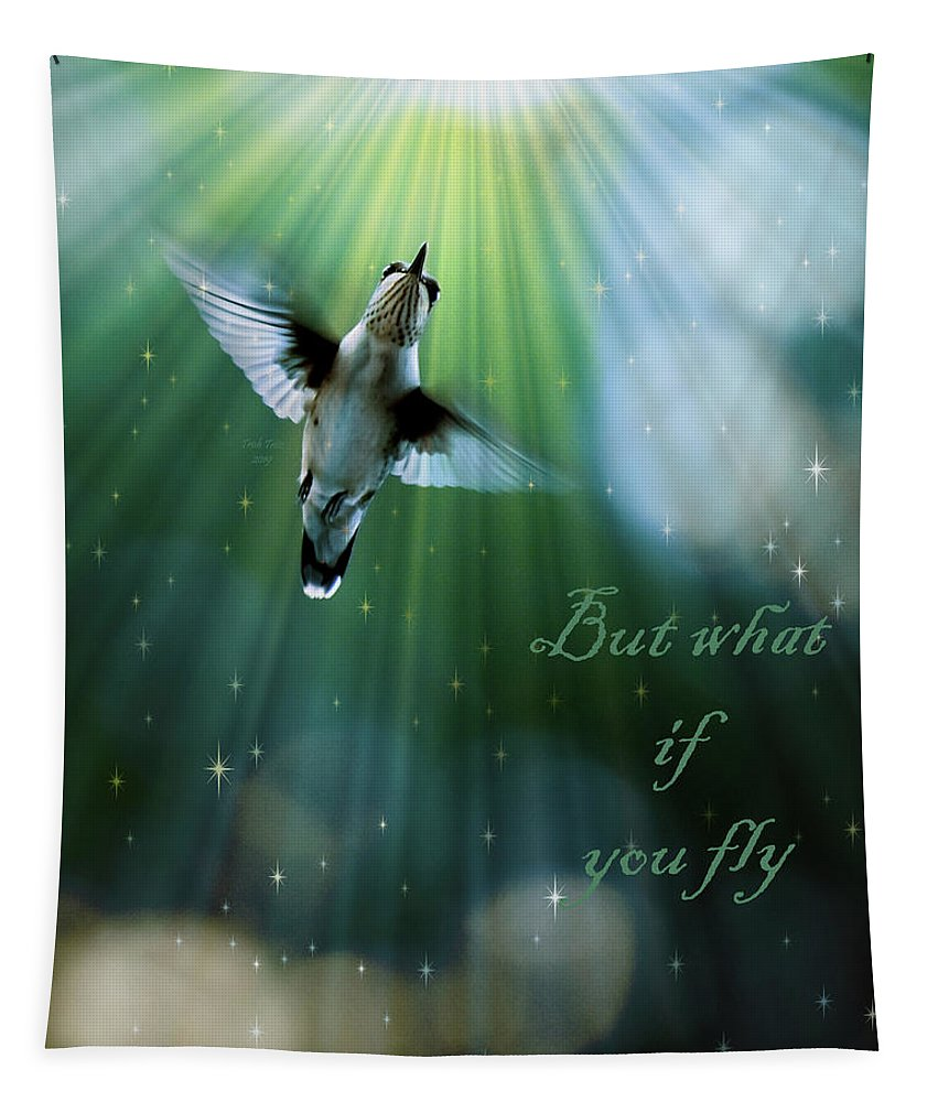 Bird Tapestry featuring the mixed media But What If You Fly by Trish Tritz