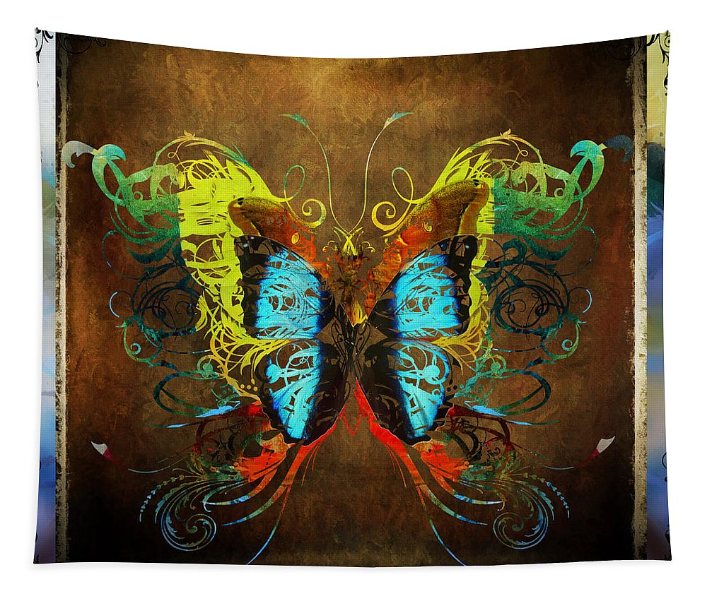 Butterfly Tapestry featuring the digital art Butterfly Abstract by Tim Palmer