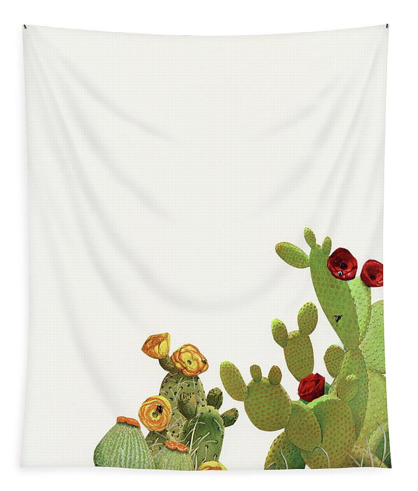 Cactus Tapestry featuring the mixed media Cactus Garden II by Cassia Beck