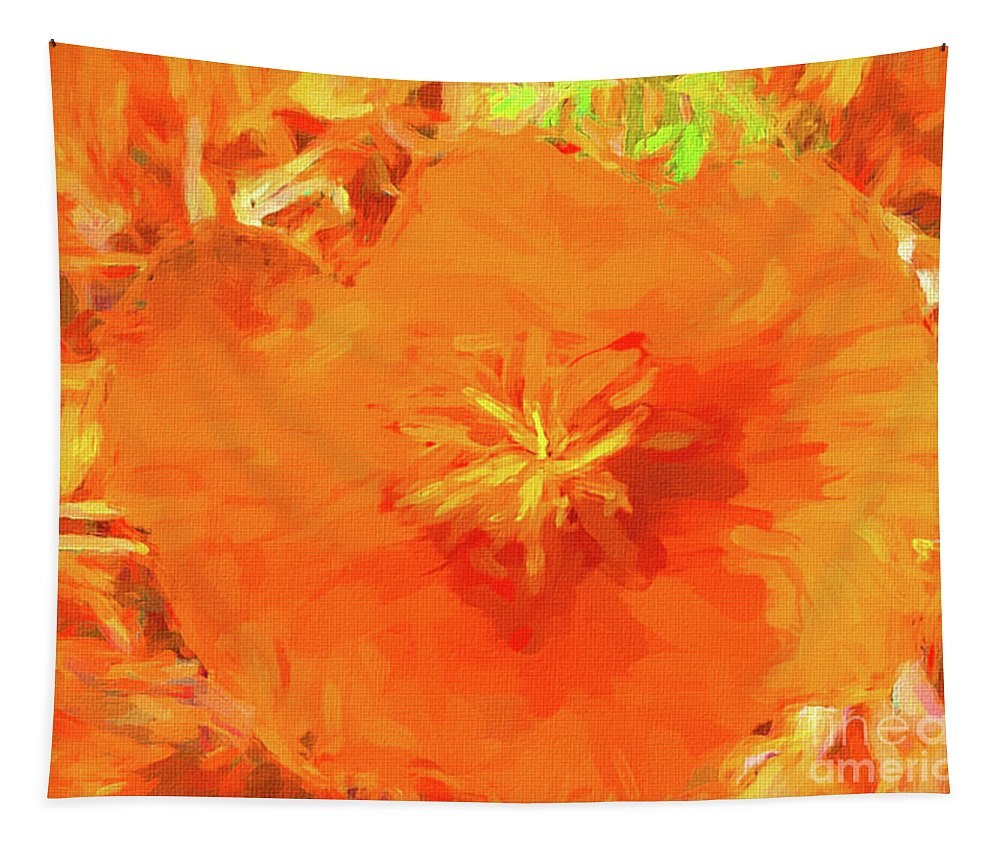 Mona Stut Tapestry featuring the digital art California Poppy Inside by Mona Stut