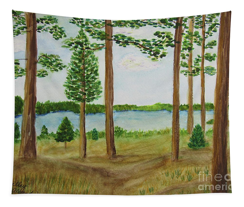 Lake Tapestry featuring the painting Camping At The Lake by Marsha McAlexander