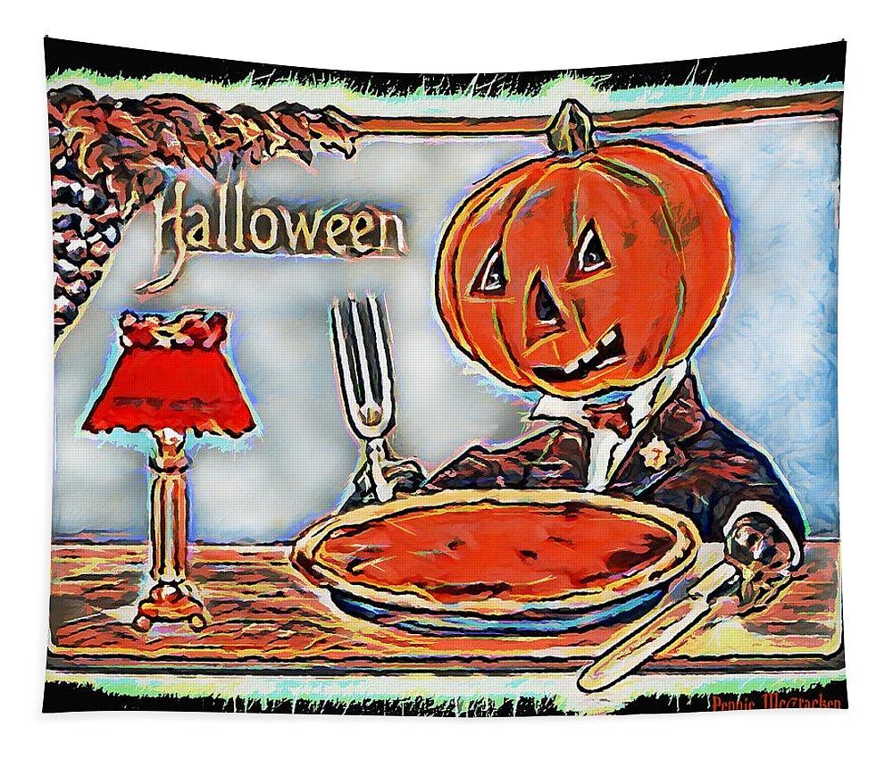 Pumpkin Pie Tapestry featuring the digital art Cannibalism by Pennie McCracken
