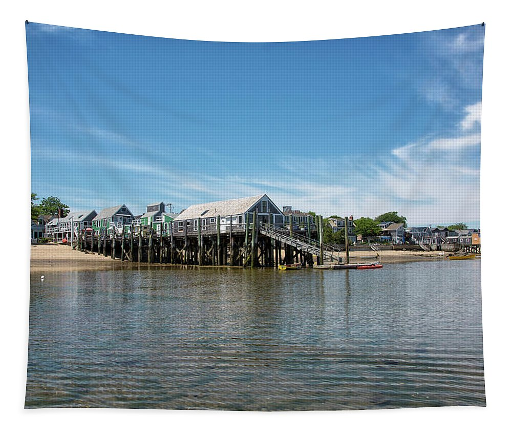 Provincetown Tapestry featuring the photograph Captain Jack's Wharf - Provincetown Harbor - Massachusetts by Brendan Reals