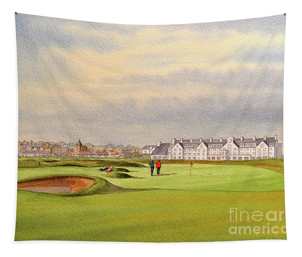 Carnoustie Golf Course Tapestry featuring the painting Carnoustie Golf Course Scotland With Clubhouse by Bill Holkham