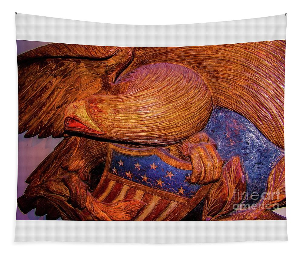 Carved Tapestry featuring the photograph Carved Wood - Eagle by D Davila
