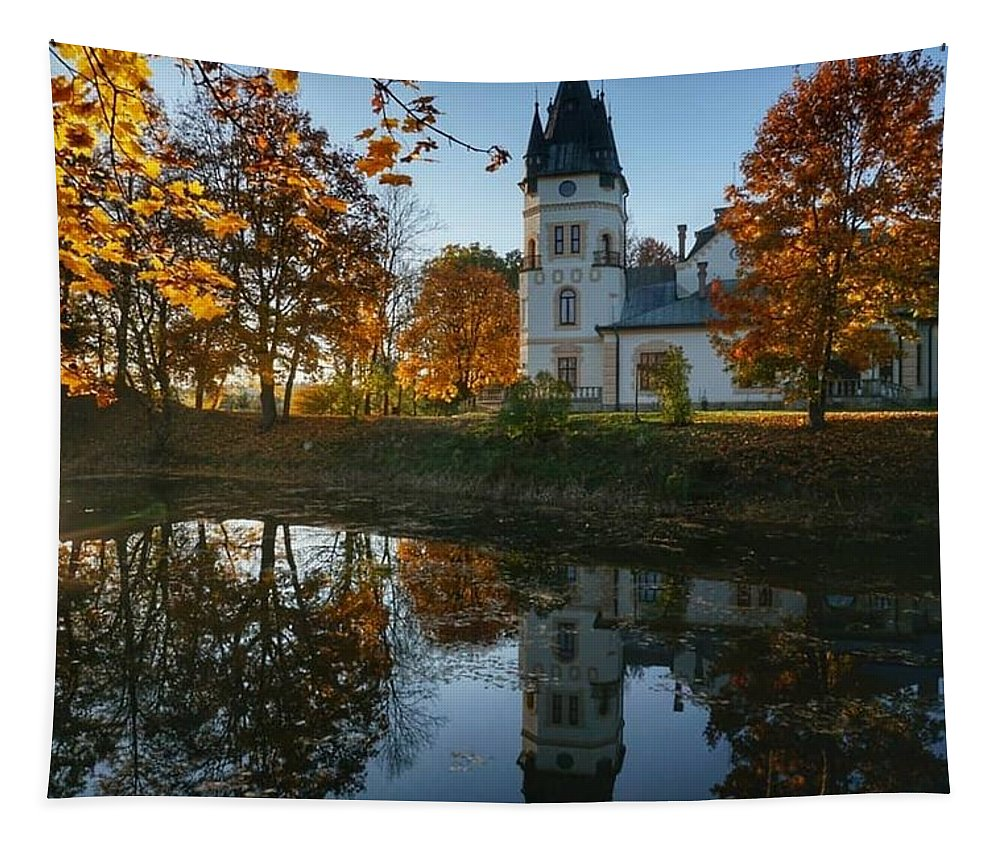 Poland. Castle. Beautiful. Autumn Tapestry featuring the photograph Castle by Alex Mur
