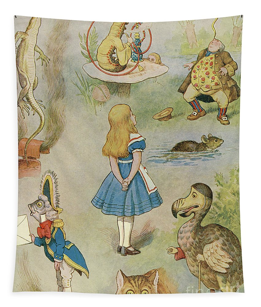 Alice Tapestry featuring the drawing Characters From Alice In Wonderland by John Tenniel