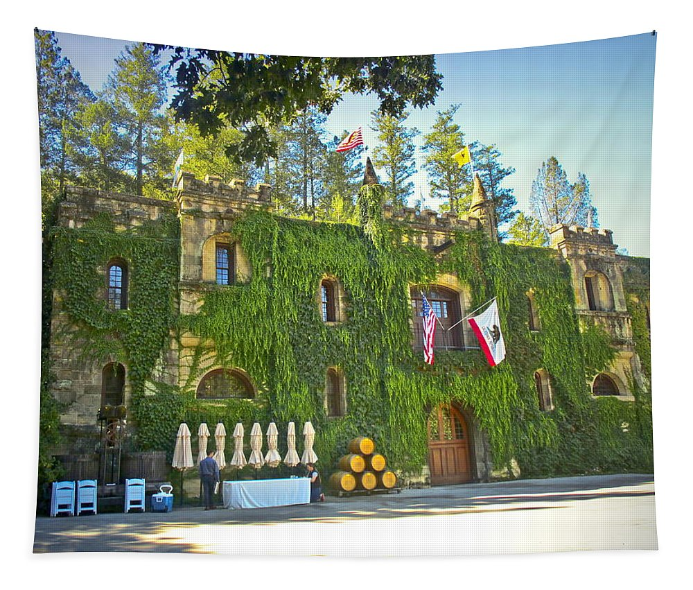 Chateau-montelena Tapestry featuring the photograph Chateau Montelena Facade by Joyce Dickens