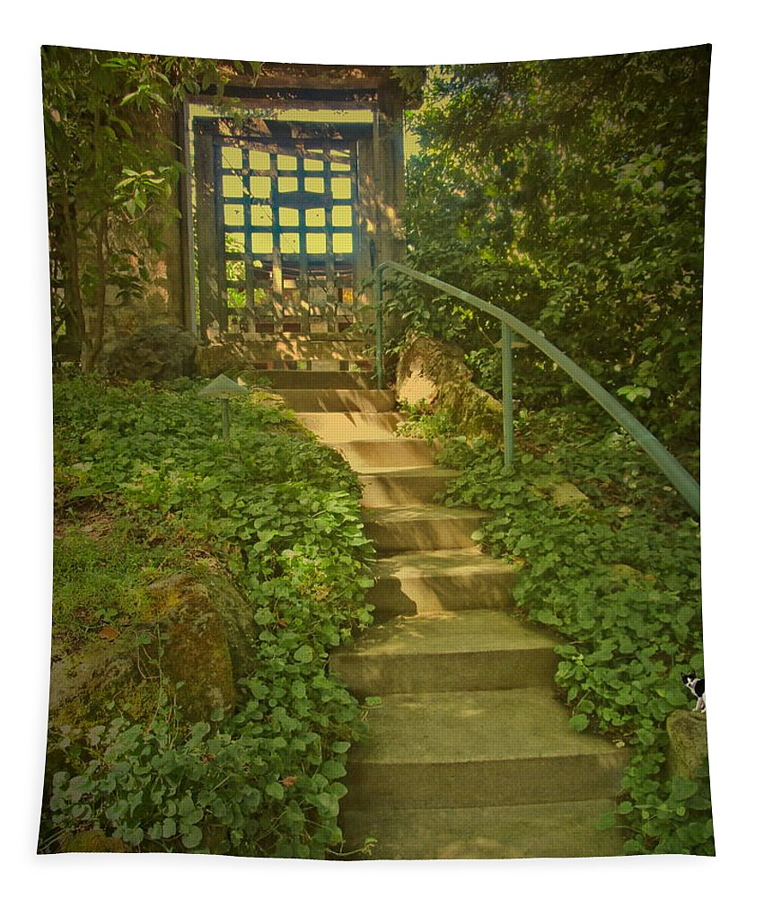 Chateau-montelena Tapestry featuring the photograph Chateau Montelena Garden Stairway by Joyce Dickens