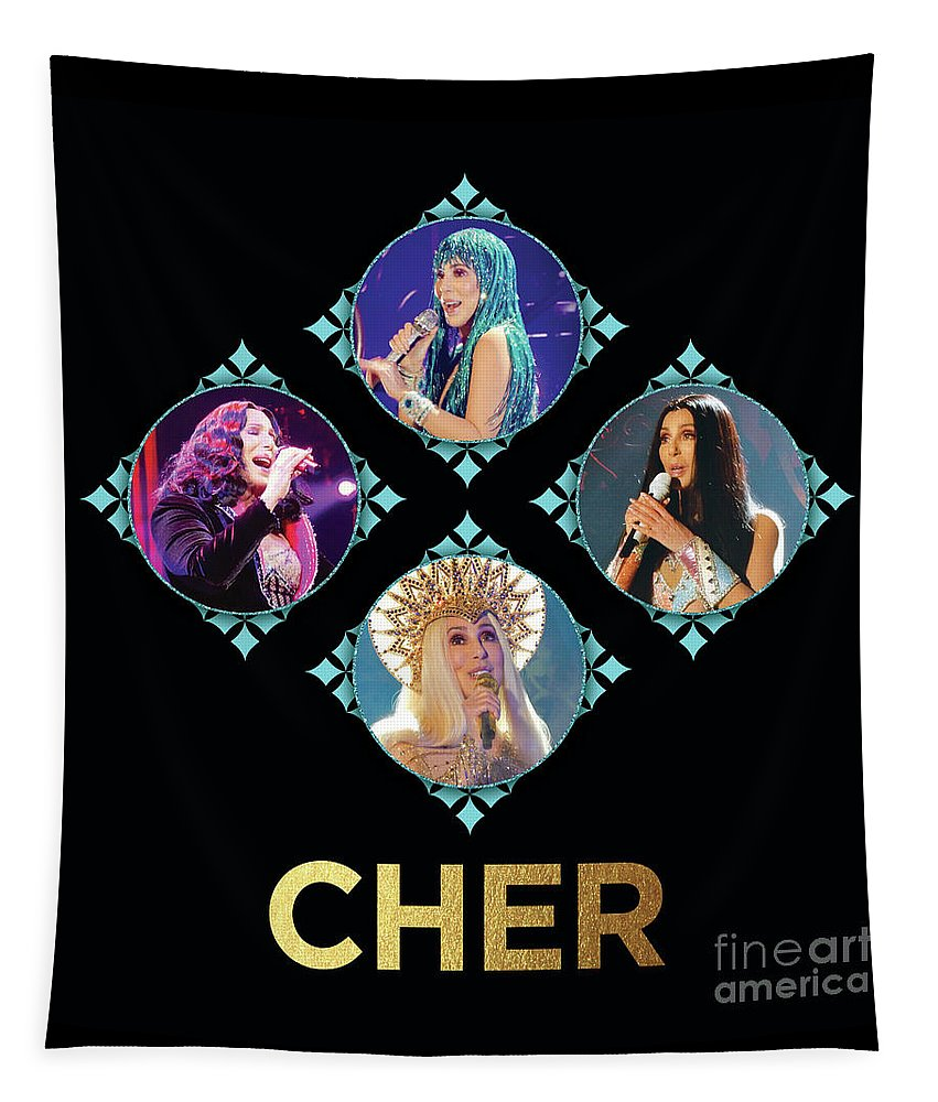 Cher Tapestry featuring the digital art Cher - Blue Diamonds by Gabrielle D