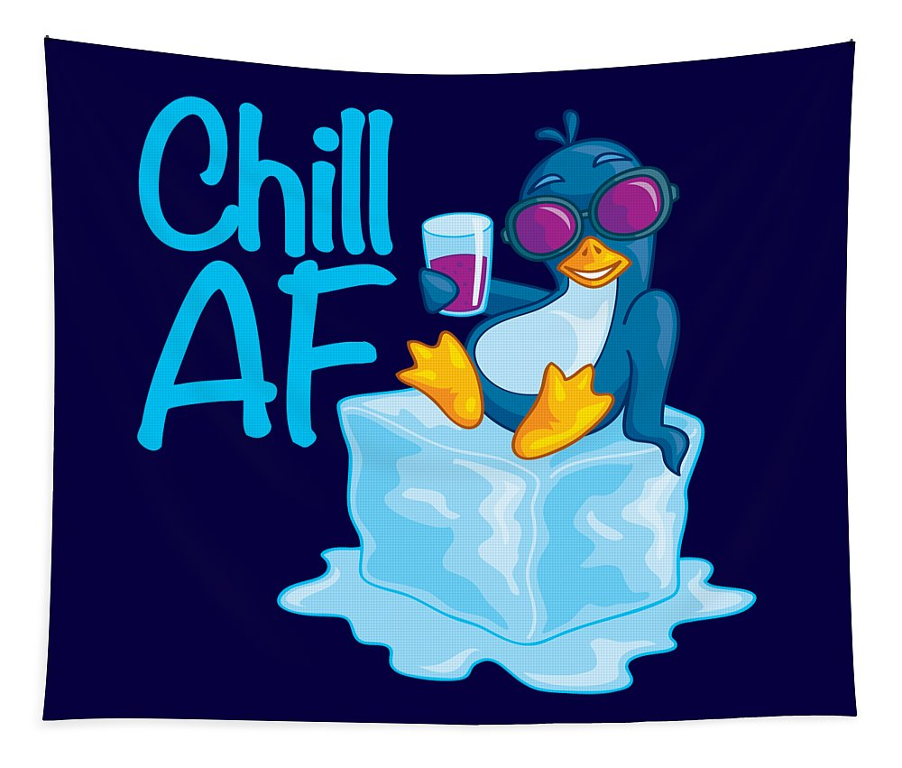 Penguin Tapestry featuring the digital art Chill AF Penguin on Ice by John Schwegel