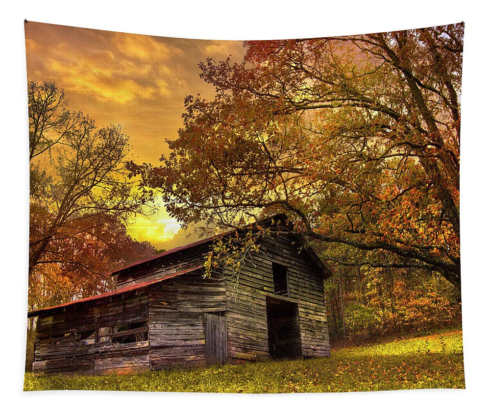Appalachia Tapestry featuring the photograph Chill Of An Early Fall by Debra and Dave Vanderlaan