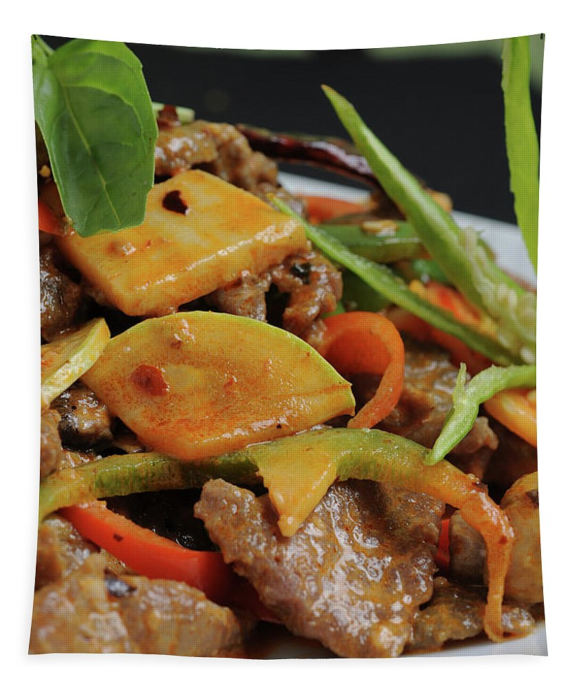 Food Tapestry featuring the photograph Chinese Pan Fried Beef A4 by Ilan Amihai