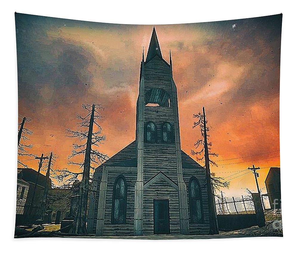 Original Art Tapestry featuring the digital art Church Of Days Past by Robert Radmore