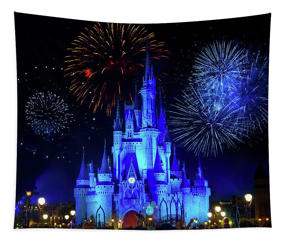 Magic Kingdom Tapestry featuring the photograph Cinderella Castle Fireworks by Mark Andrew Thomas