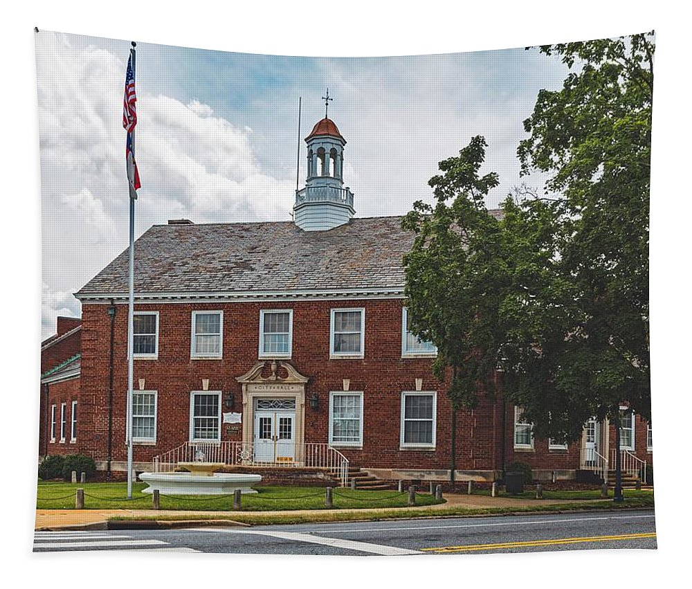 Shelby Tapestry featuring the photograph City Hall - Shelby, North Carolina by Mountain Dreams