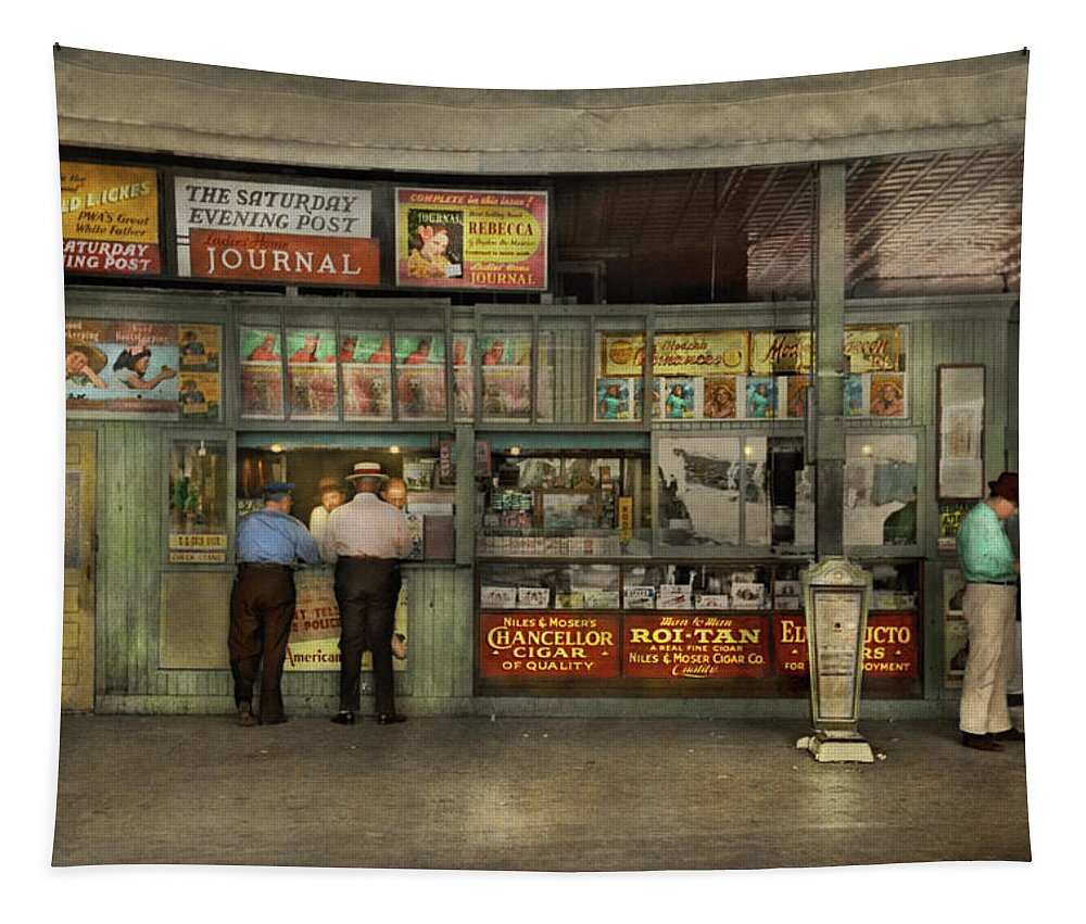 Streetcar Terminal Tapestry featuring the photograph City - Oklahoma Ok - A Magazine For The Ride Home 1939 by Mike Savad