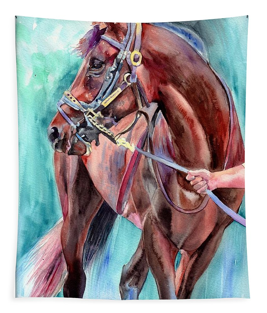 Watercolor Tapestry featuring the painting Classical Horse Portrait by Suzann Sines