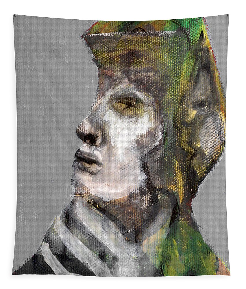 Clear Grey Tapestry featuring the painting Clear Grey Sky Portrait by Edgeworth DotBlog