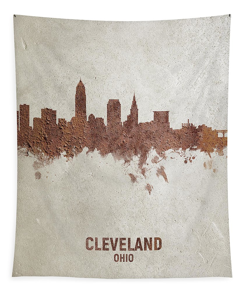 Cleveland Tapestry featuring the digital art Cleveland Ohio Rust Skyline by Michael Tompsett
