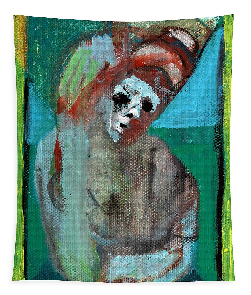 Clown Tapestry featuring the painting Clown At A Table by Edgeworth DotBlog