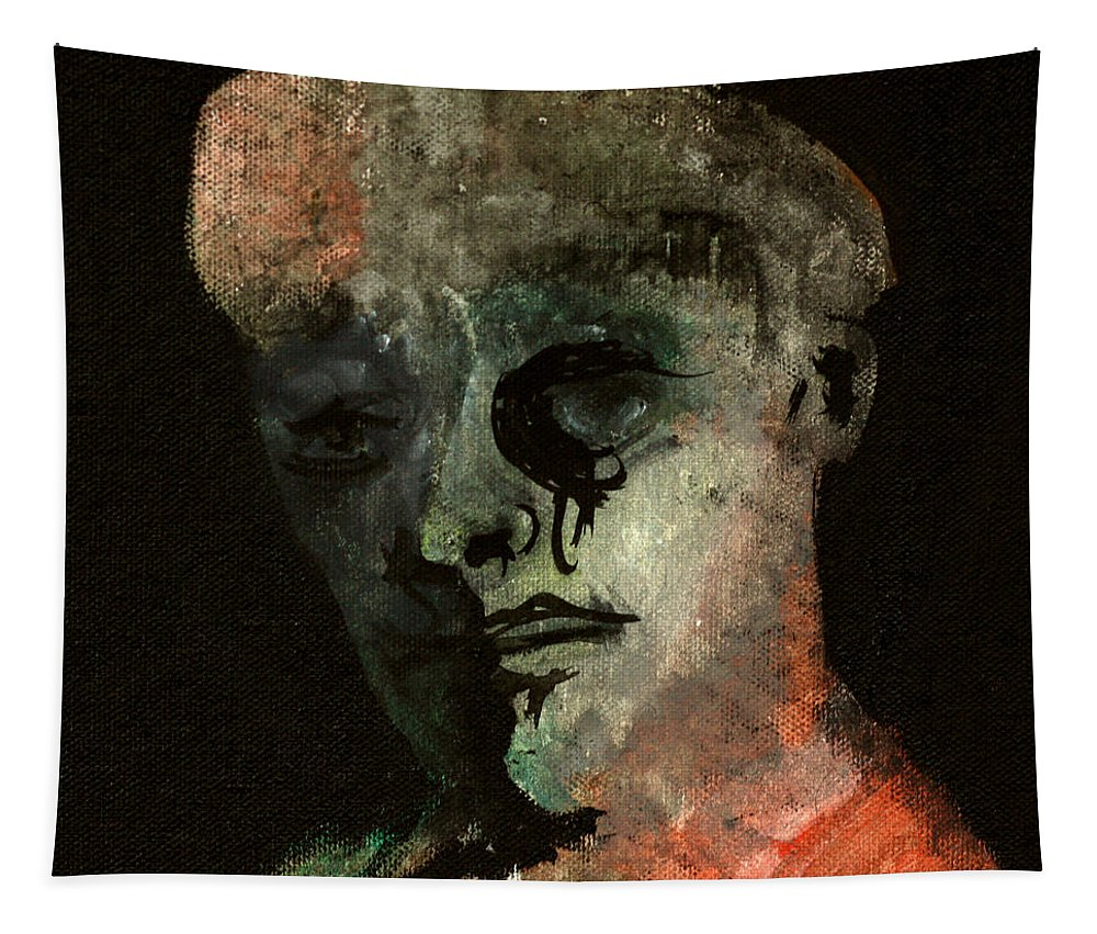 Clown Tapestry featuring the painting Clown On Black by Edgeworth DotBlog