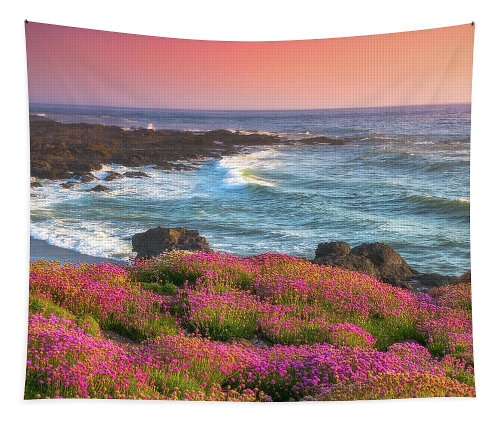 Oregon Tapestry featuring the photograph Coastal Clover Sunset by Darren White