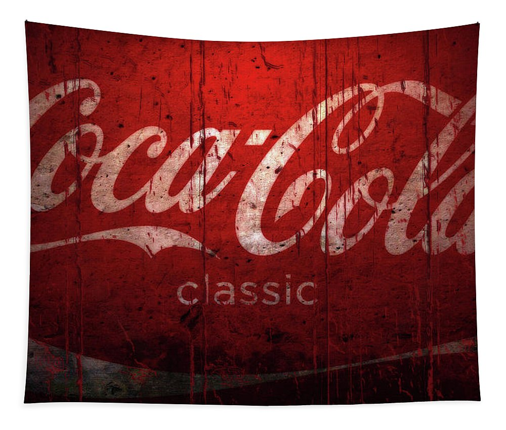 Coca Cola Tapestry featuring the mixed media Coca Cola Wood Sign by Brian Reaves