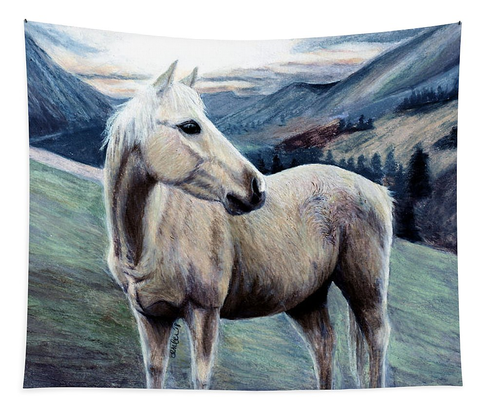 Horse Tapestry featuring the painting Cochise by Amber Dennis