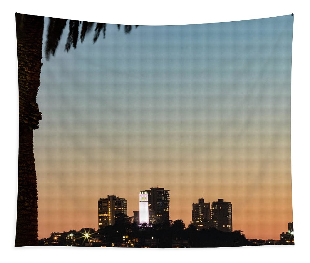 Coit Tower Twilight Tapestry featuring the photograph Coit Tower Twilight by Mitch Shindelbower