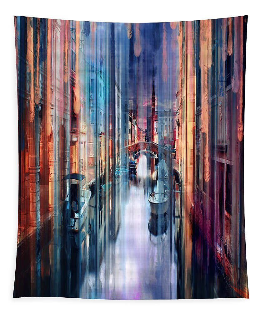 Colorful Tapestry featuring the digital art Colorful Canal by Tim Palmer