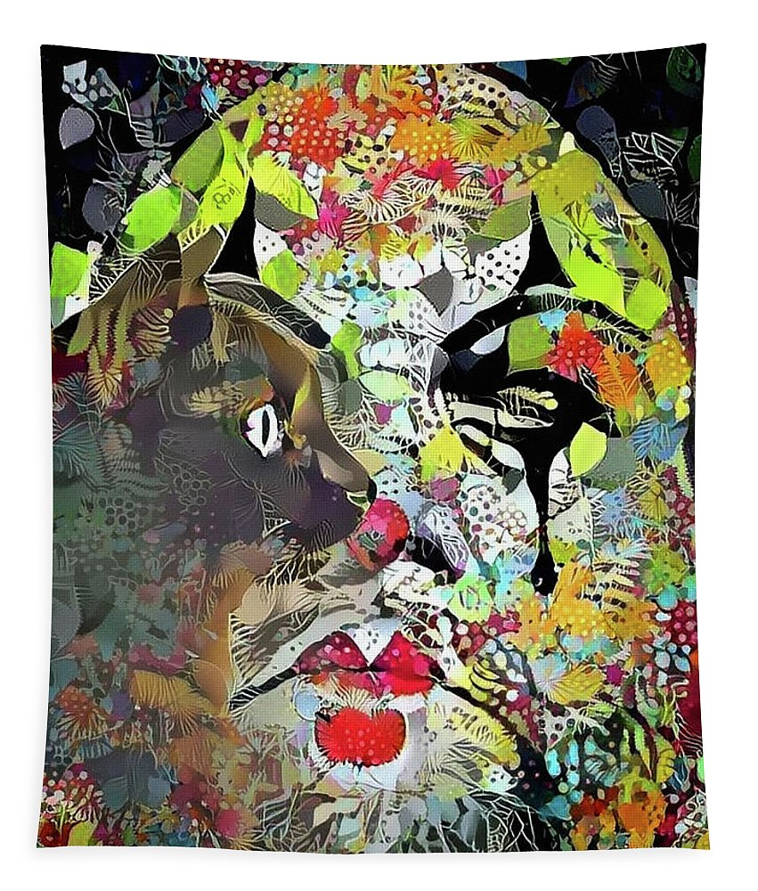 Abstract Tapestry featuring the digital art Colorful Makeup by Bruce Rolff