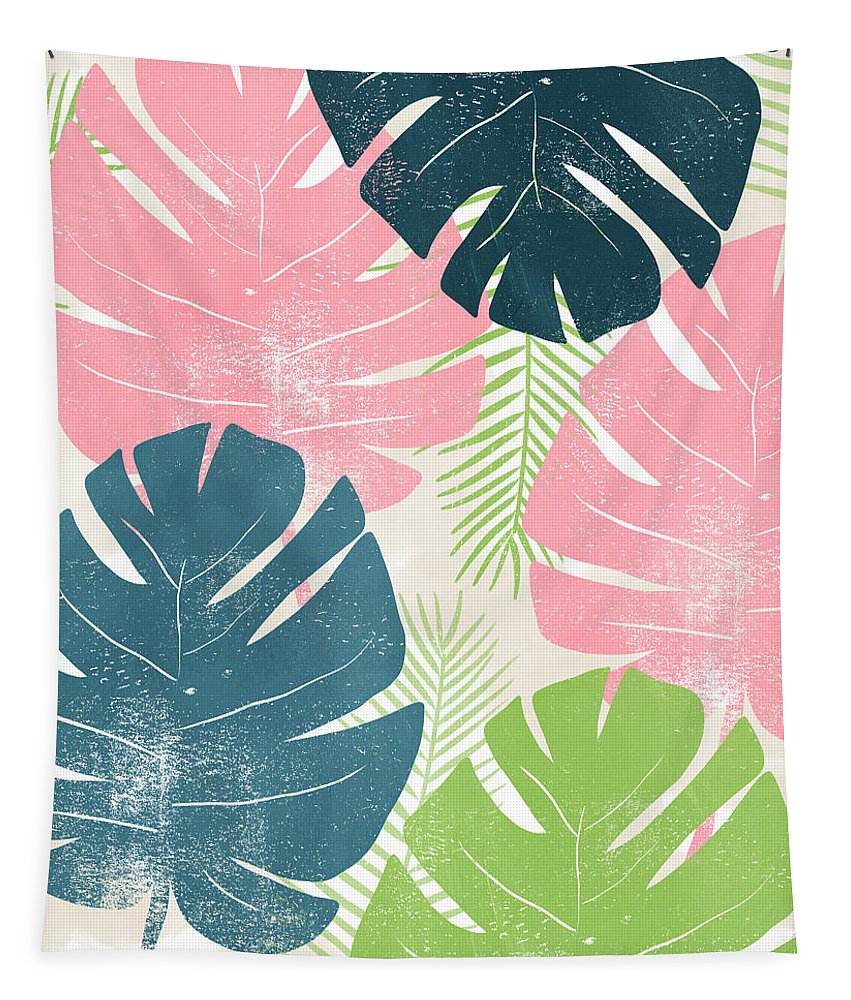 Tropical Tapestry featuring the mixed media Colorful Palm Leaves 1- Art by Linda Woods by Linda Woods