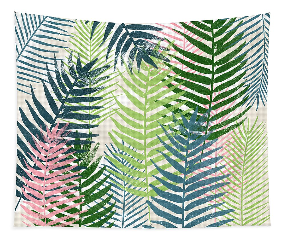 Tropical Tapestry featuring the mixed media Colorful Palm Leaves 2- Art by Linda Woods by Linda Woods