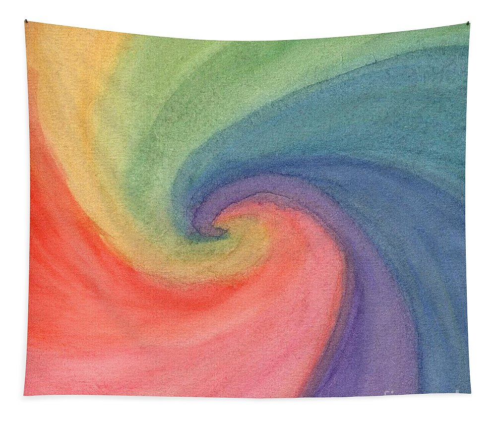 Gouache Tapestry featuring the painting Colorful Wave by Irina Dobrotsvet