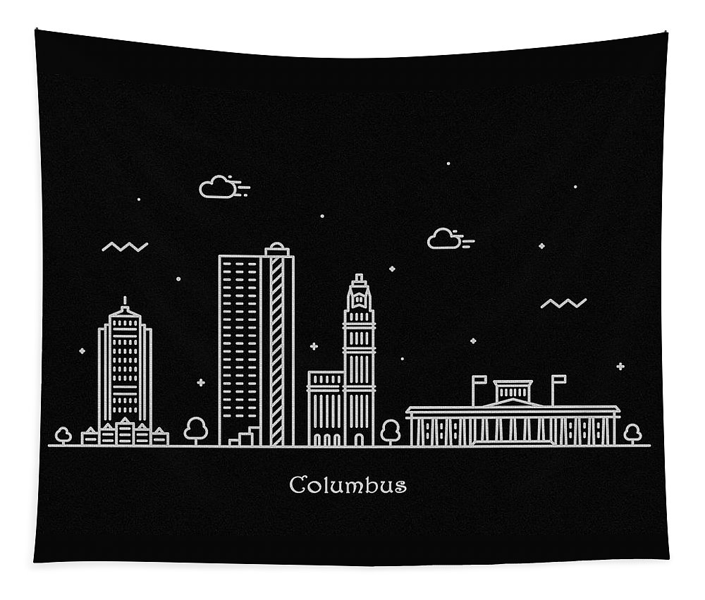 Columbus Tapestry featuring the drawing Columbus Skyline Travel Poster by Inspirowl Design