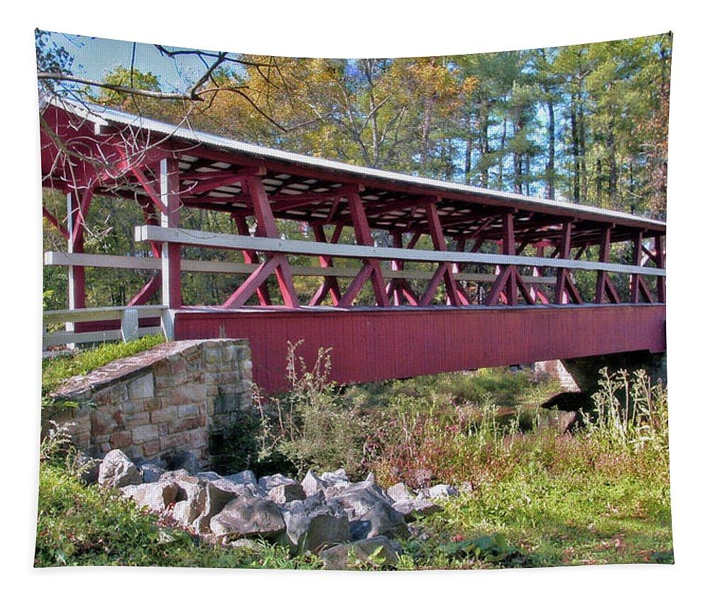 Bedford County Tapestry featuring the photograph Colvin Covered Bridge by Suzanne Stout