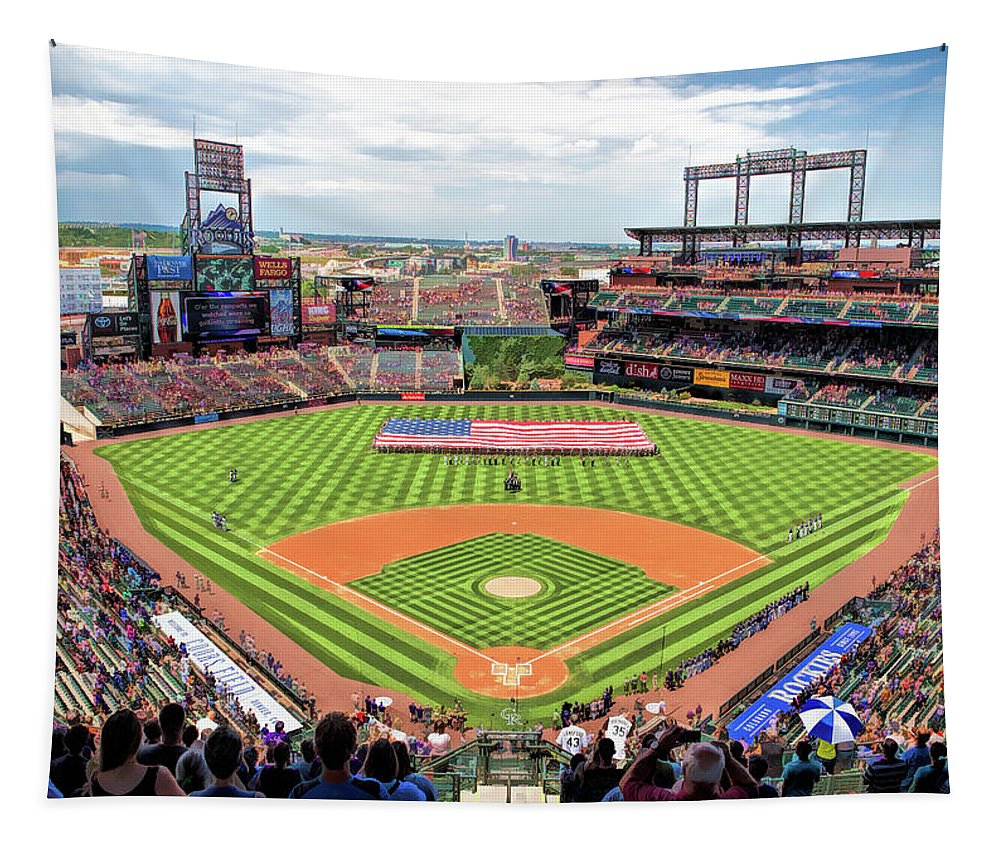 Coors Field Tapestry featuring the painting Coors Field Colorado Rockies Baseball Ballpark Stadium by Christopher Arndt