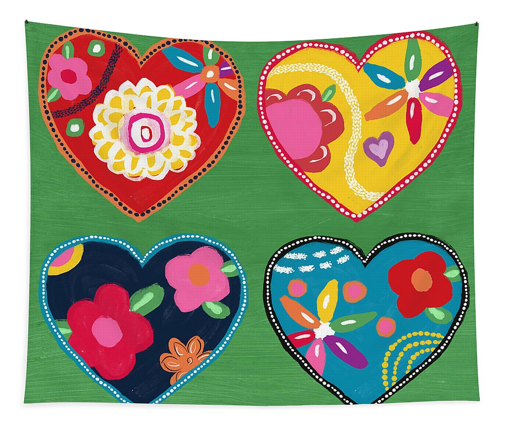 Heart Tapestry featuring the mixed media Corazon 1- Art By Linda Woods by Linda Woods