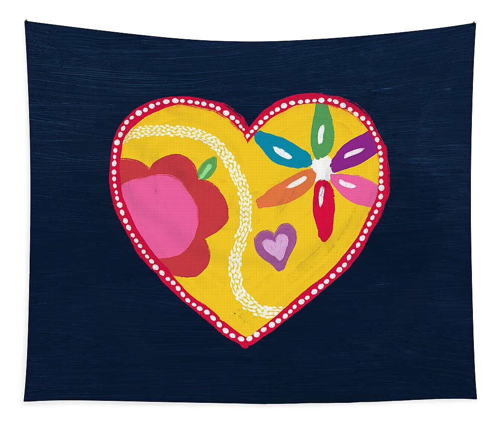 Heart Tapestry featuring the mixed media Corazon 4- Art By Linda Woods by Linda Woods