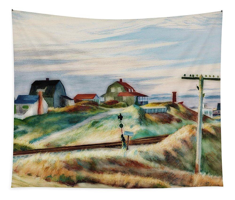 Painting Tapestry featuring the painting Cottages At North Truro by Edward Hopper