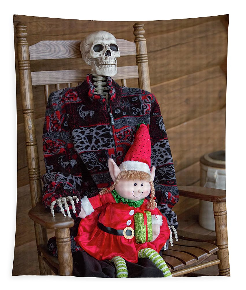 Skeleton Tapestry featuring the photograph Country Christmas Greeters by Betsy Knapp