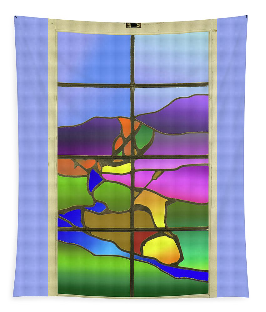 Stained Glass Tapestry featuring the digital art Country View With Frame by Bruce