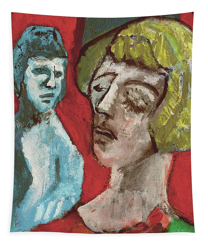 Couple Tapestry featuring the painting Couple In Front Of Red Wall by Edgeworth DotBlog