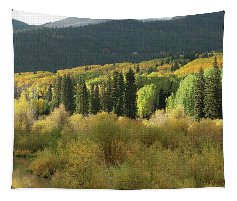 Olena Art Tapestry featuring the photograph Crested Butte Colorado Fall Colors Panorama - 1 by OLena Art Brand