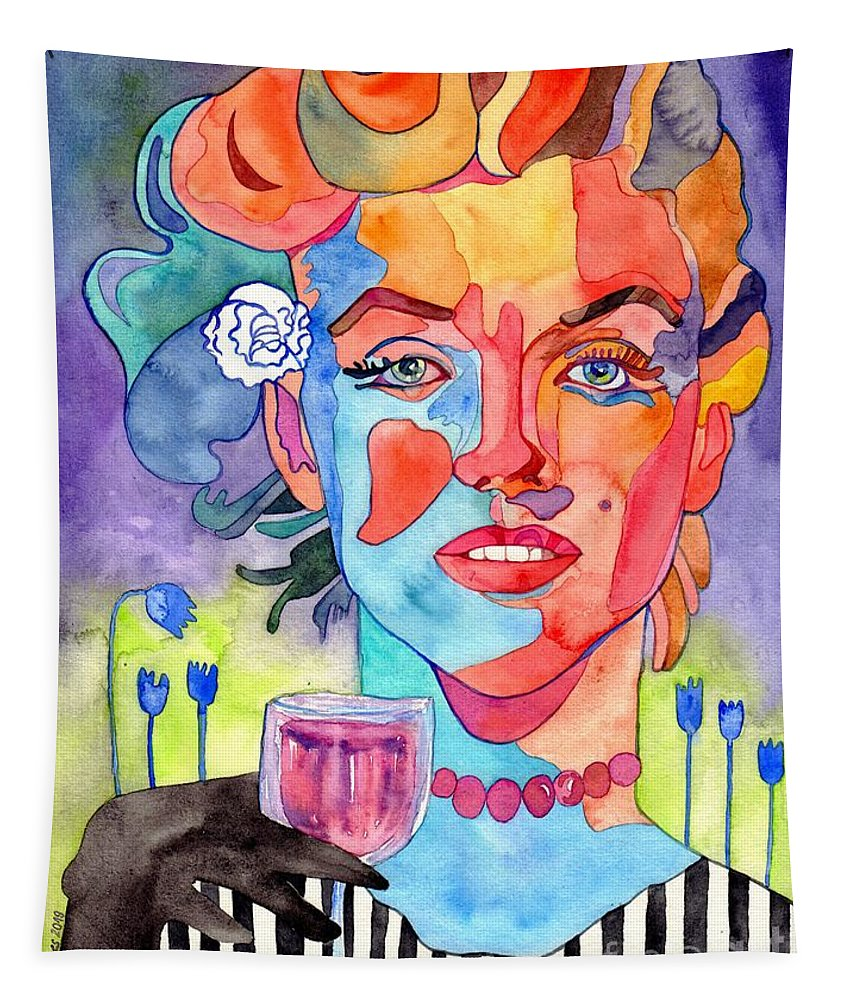 Marilyn Monroe Tapestry featuring the painting Crying Marilyn by Suzann Sines