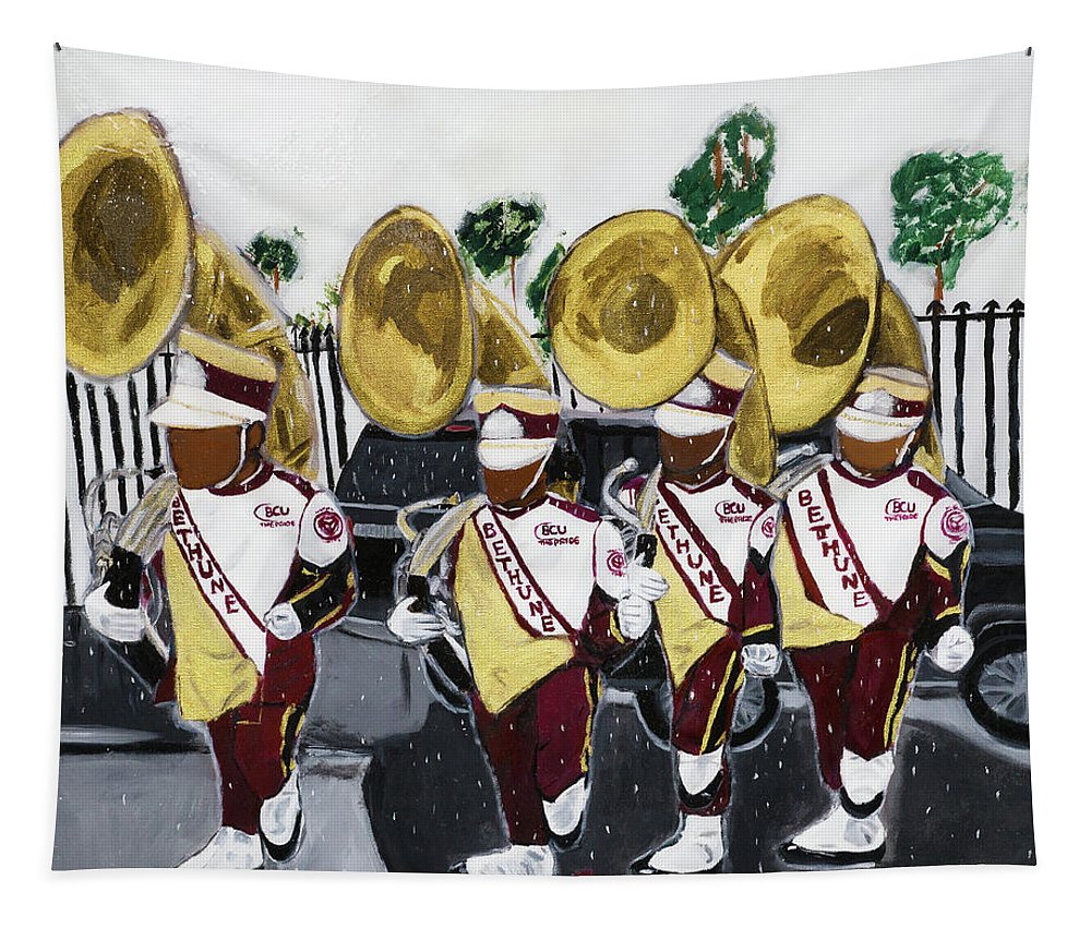 Bethune Cookman University Tapestry featuring the painting Da Rock of The Pride by Sonye Locksmith