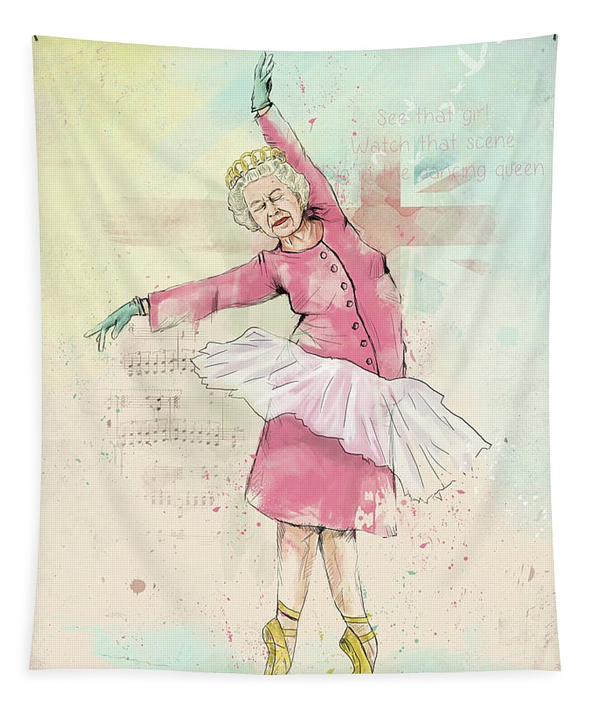 Queen Tapestry featuring the mixed media Dancing Queen by Balazs Solti