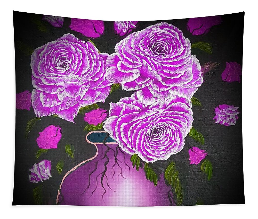Pink Tapestry featuring the painting Dark And Delicious Roses In Pink Lilac by Angela Whitehouse